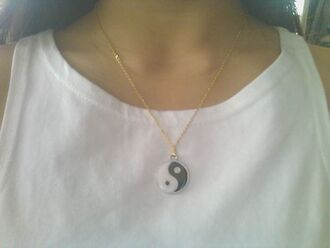 jewels yin yang religion necklace jewel black white