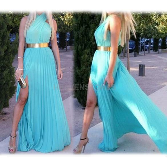 Summer women sexy cross halter beach boho maxi sundress long dress hv2n