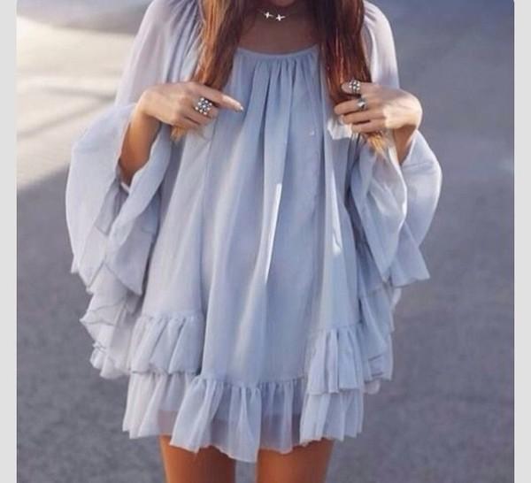 dress colorful swag boho pinterest tumblr ruffle long sleeves long sleeves flowy mini dress top grey cute summer fashion style chiffon long sleeves girly ruffled top lavender tunic periwinkle periwinkle dress