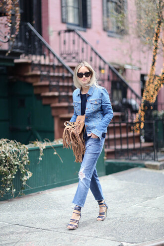 the fashion guitar blogger jeans fringed bag denim jacket ripped jeans