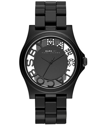 Marc by marc jacobs women's henry black nylon bracelet watch 41mm mbm4572
