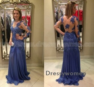 dress prom dress prom lace evening dress fashion maxi dress sexy dress royal blue see through dress royal blue dress