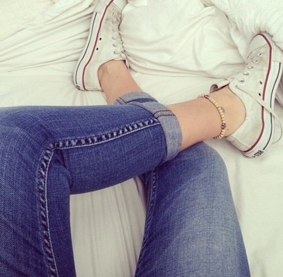 jeans converse comfortable blue denim strechy cool spring summer girly hot jewels bracelet ankle pants alli simpson