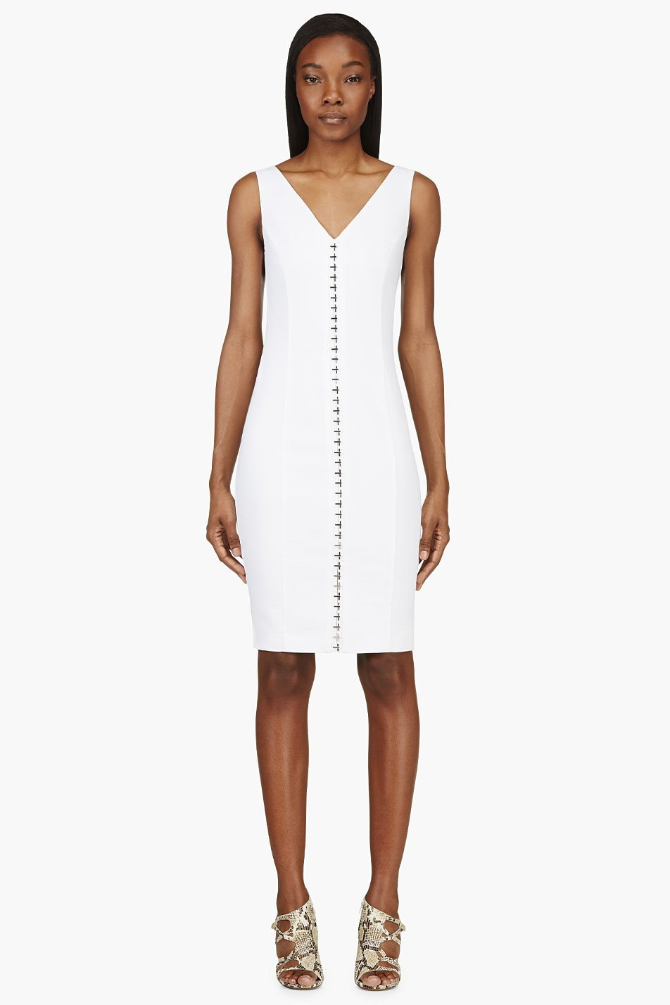 versace white linen hook_front v_neck dress