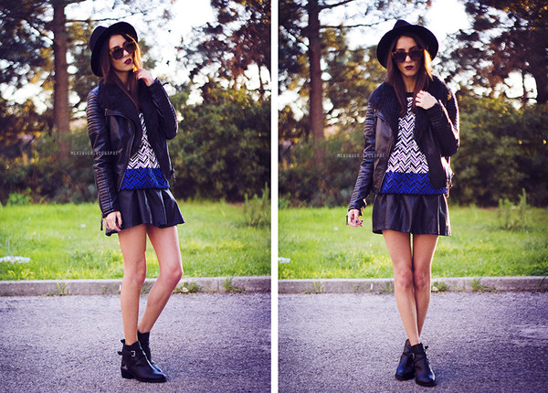 mexiquer hat sunglasses jacket sweater skirt shoes