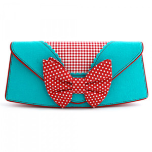 bag blue red clutch clutch bag vintage retro rockabilly pin up pinup bow polkadot