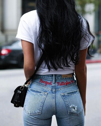jeans tumblr blue jeans denim embroidered embroidered jeans customized t-shirt white t-shirt bag black bag black hair
