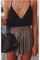 top,shorts,summer,summer outfits,tank top,brown,black dress,black,black and white,necklace,jewelry,boho,tumblr,fashion,color/pattern,hipster,indie,bohemian,cream,High waisted shorts,croptoptshirt,purse,teenagers,dress,2piece dress,romper,shirt,spring,summer shorts,outfit,outfit idea,blouse,skirt,black shirt,green shorts