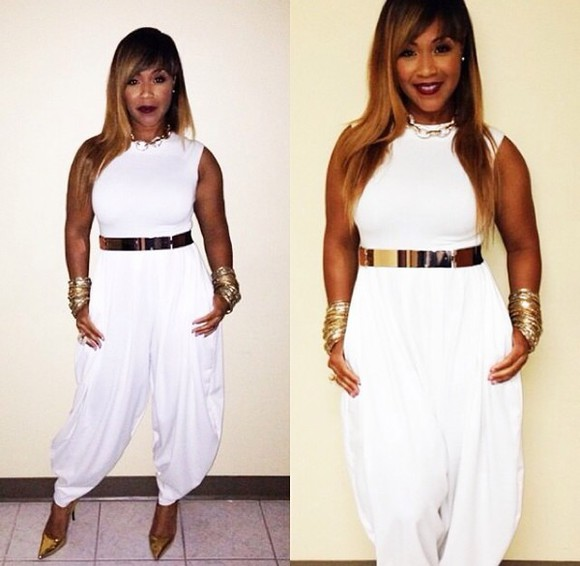 queen romper erica campbell swag all white style fashion diva shoes Belt jewels