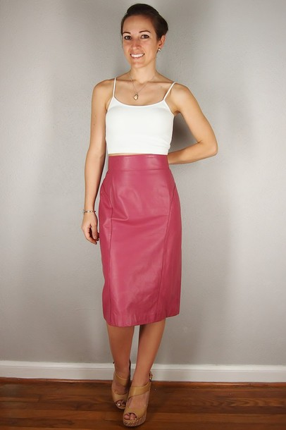 Skirt: pink leather, pink, leather pencil skirt, pink skirt ...