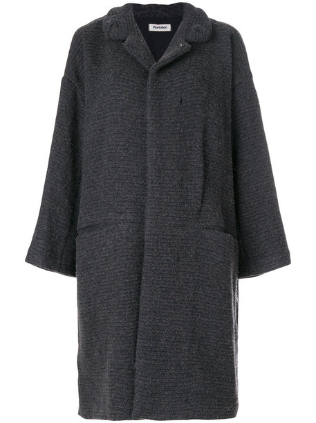 Plantation cardigan cardigan long women cotton wool knit grey sweater
