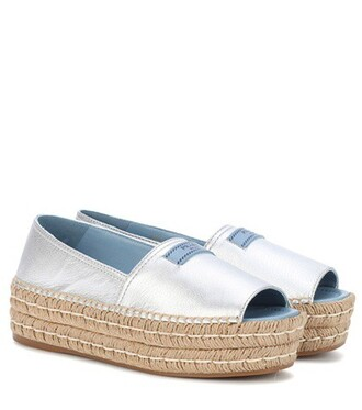open espadrilles leather silver shoes