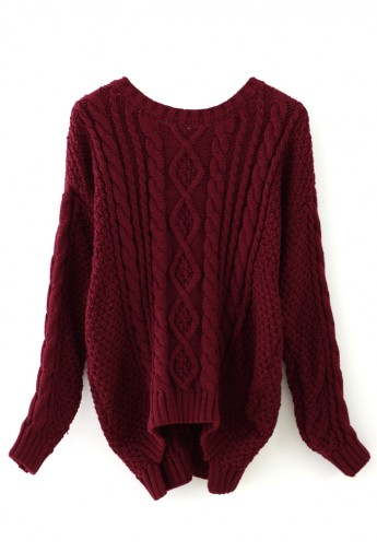 Red Cable Knit Sweater - Retro, Indie and Unique Fashion