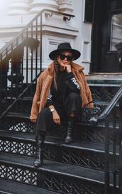 gracefullee made,blogger,sweater,pants,coat,shoes,bag,sunglasses,hat,jewels,teddy bear coat