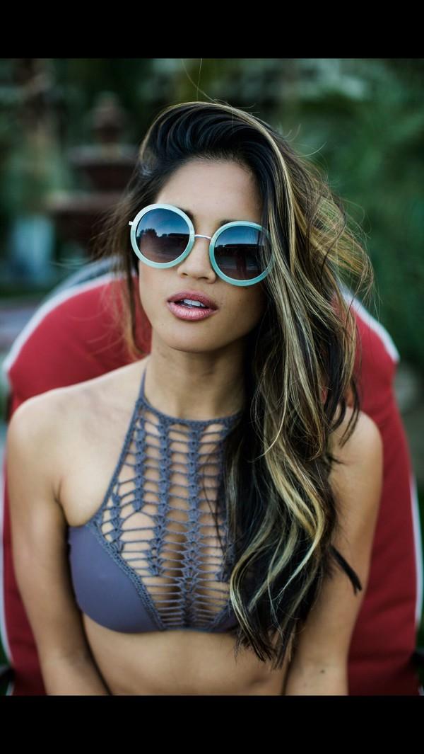 sunglasses swimwear swimwear swimwear swimwear swim top bikini bikini top halter neck halter top net top netted bra net mesh top sexy bikini dope swimwear circle skirt round sunglasses style blouse