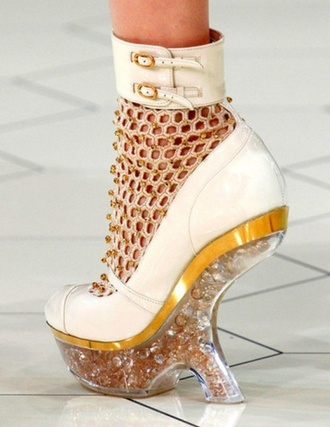 shoes alexander mcqueen wedges white gold metallic mesh