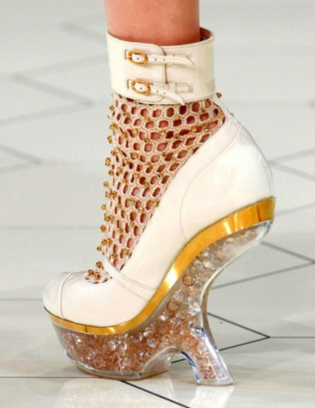 shoes wedges alexander mcqueen white gold metallic mesh