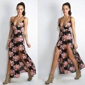 maxi dress,floral dress,printed dress,slit dress,plunge v neck,v neck dress,floral maxi dress