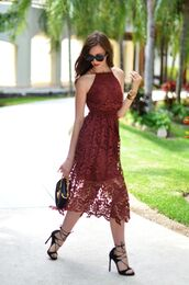 vogue haus,blogger,sunglasses,jewels,lace dress,burgundy dress,black bag,mini bag,black heels,lace up heels