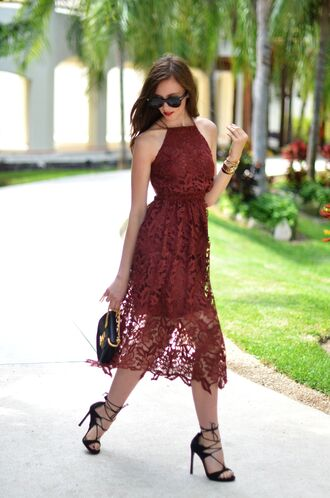 vogue haus blogger sunglasses jewels lace dress burgundy dress black bag mini bag black heels lace up heels