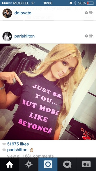 top be yourself beyoncé paris hilton pink t-shirt tank top