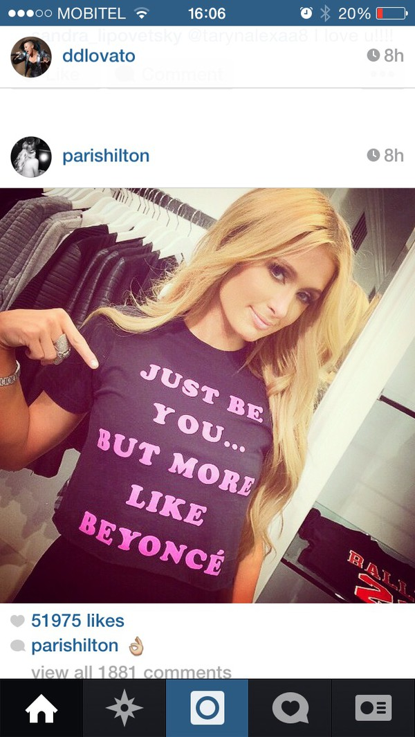 top be yourself beyonce paris hilton pink t-shirt tank top