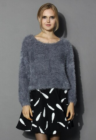grey sweater chicwish fuzzy knitted sweater fashion and chic fuzzy sweater