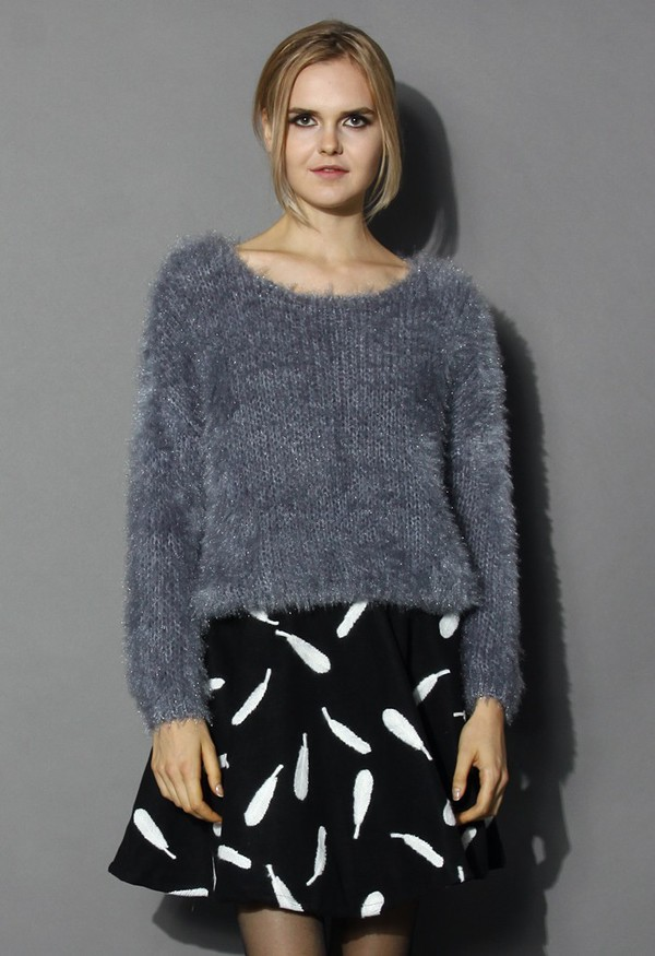 Sweater: chicwish, fuzzy knitted sweater, grey sweater, fashion ...