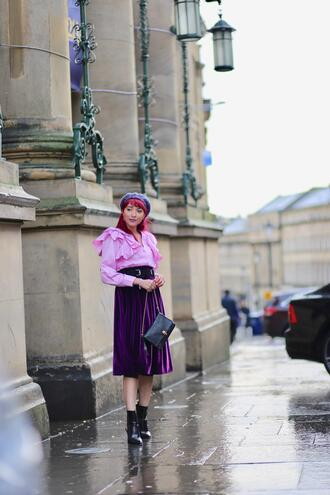 preppy fashionist blogger shirt belt skirt bag shoes ruffled top beret ankle boots midi skirt purple skirt spring outfits