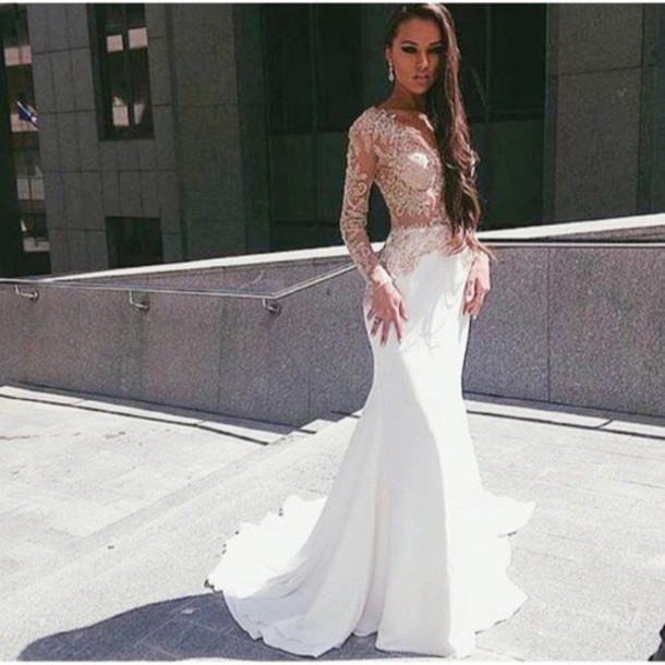 Dress: white lace dress, white, lace, prom, sheer, sexy, white ...