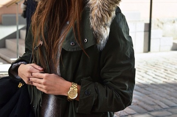 blouse jacket coat khaki parka