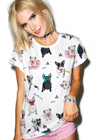 t-shirt yeah bunny dog frenchie pugs white cute funny kawaii
