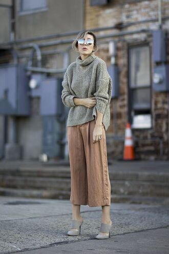 shoes suede mule mules grey shoes pants palazzo pants culottes light brown culottes sweater grey sweater oversized turtleneck sweater sunglasses mirrored sunglasses fall outfits silver sunglasses