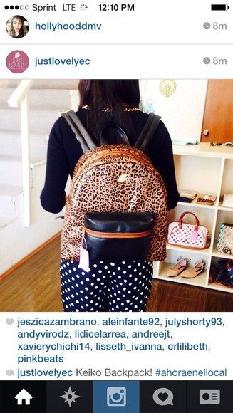 bag backpack gold leopard print instagram brown black