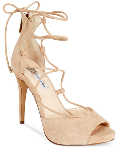 INC International Concepts Sabba Peep-Toe Lace-Up Pumps Only at Macy's - Sandals - Shoes - Macy's