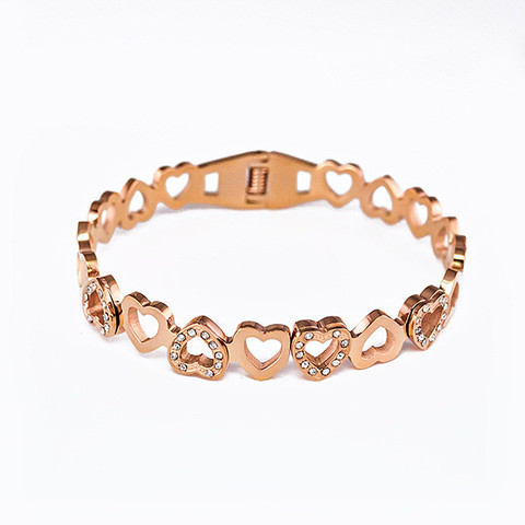 Rose Gold Plated Titanium Heart Bracelet