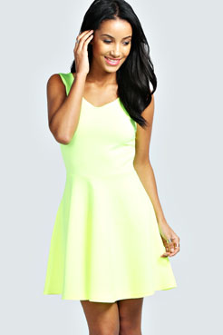 Laurie Criss Cross Back Skater Dress at boohoo.com