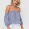 What a frill off-shoulder peasant blouse blue - gojane.com