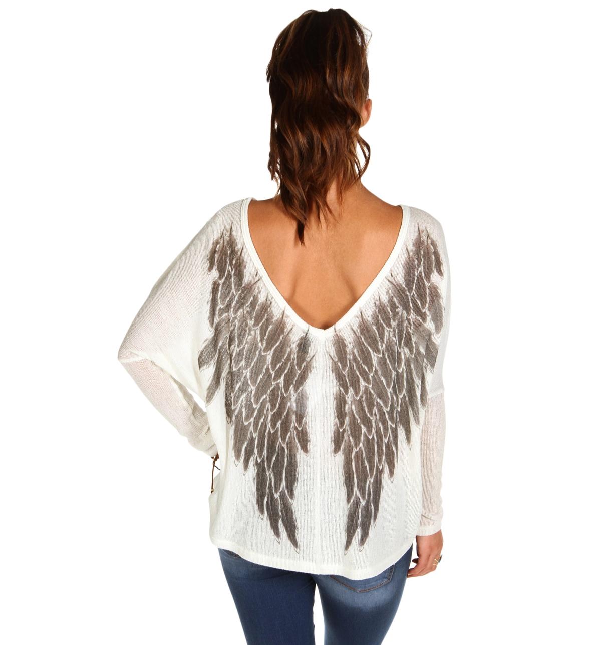Ivory Angel Wings Back Dolman Top