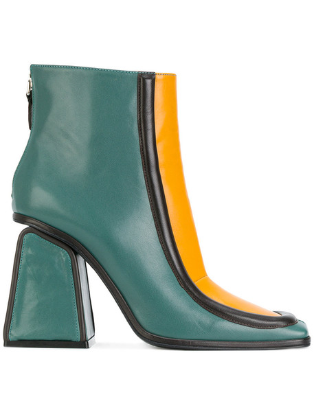 MARNI heel women geometric ankle boots leather green shoes