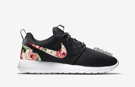 Floral Nike Roshe Run Custom Black White Roses
