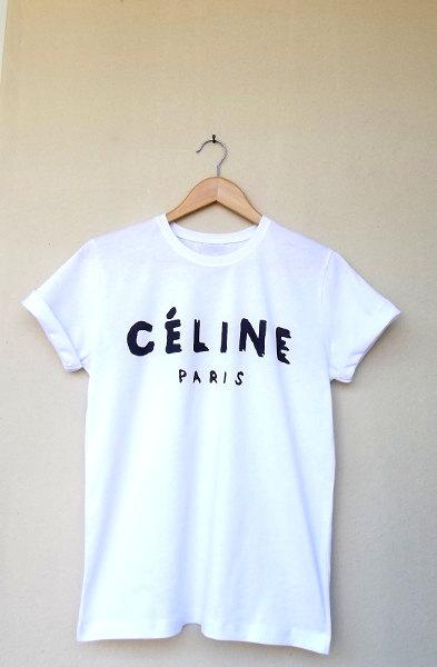 Celine Paris T Shirt Top Celebrity White Loose Tee by deegamzach