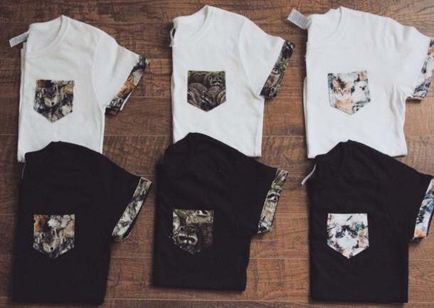 4e2d86d00e0b shirt animal tumblr cats top animal print animal clothing pocket t-shirt  outfit t-