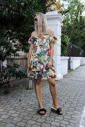 dress,tumblr,off the shoulder,off the shoulder dress,floral,floral dress,mini dress,shoes,slide shoes,velvet,velvet shoes,bag