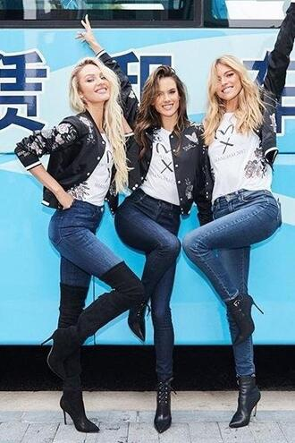 t-shirt top jeans denim candice swanepoel model alessandra ambrosio jacket victoria's secret victoria's secret model