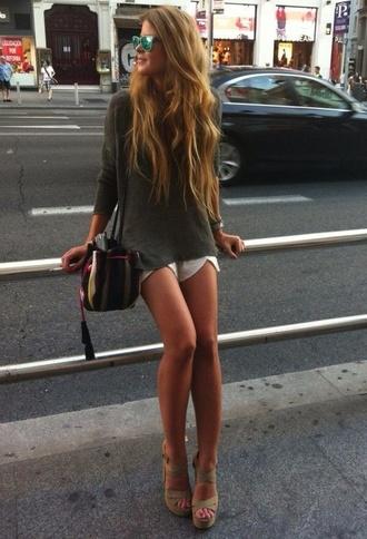long hair wavy hair jumper bucket bag platform shoes wedge sandals