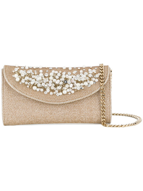 CASADEI women pearl embellished clutch nude satin bag