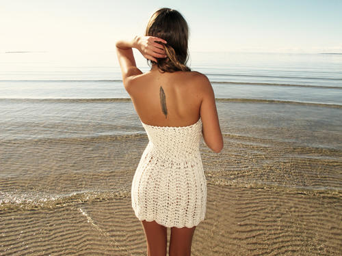 emmaoclothing - Handmade crochet strapless dress BEIGE