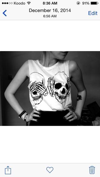 top skulls white top