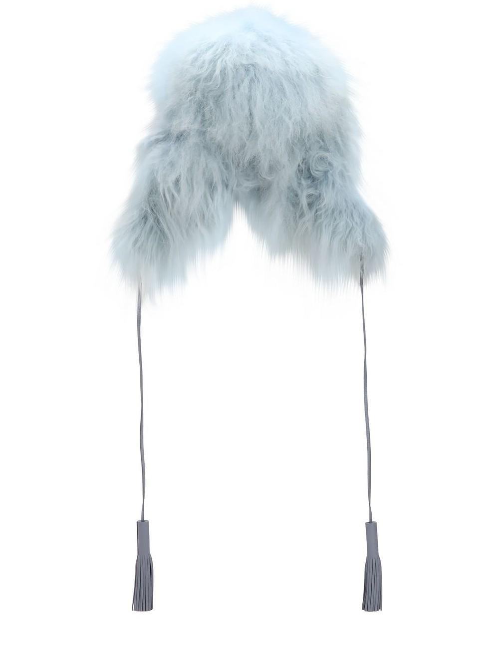 SONIA RYKIEL Chapka Long Fur Hat in blue